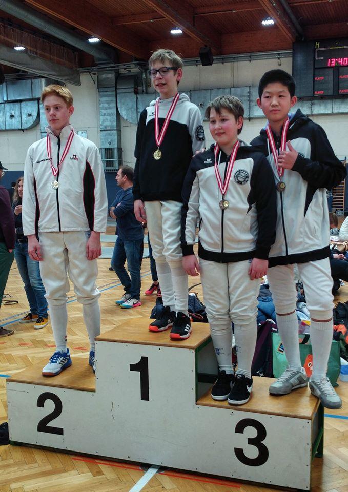 Das Podest im U14 Turnier: Jonas, Thimo und Oliver.