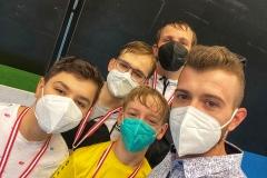 Die Einsermannschaft mit Coach Mateusz: Baran, Jonas, Yannic und Alexander.