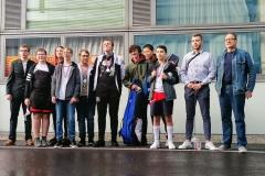 Unsere Delegation in Linz, v.l.: Betreuer Luki, Thimo, Frida, Jonas, Yannic, Alexander, Alessio, Oliver, Baran, Coach und Kampfleiter Mateusz, Betreuer Hannes.