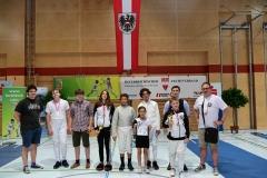 Die Delegation: Coach Luki, Alexander, Schriri Luki, Frida, Valentin, Sofia, Alessio, Thimo, Schiri Ralph und Sektionsleiter Hannes.